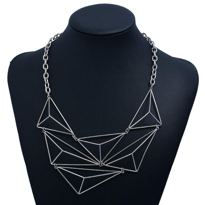 Triangle Shape Geometric Design Hollow Necklace - SILVER