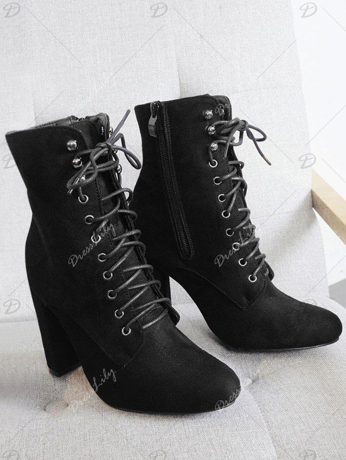 2018 bottines talons gros lacets noir in bottes online store best lacets chaussures en cuir. Black Bedroom Furniture Sets. Home Design Ideas
