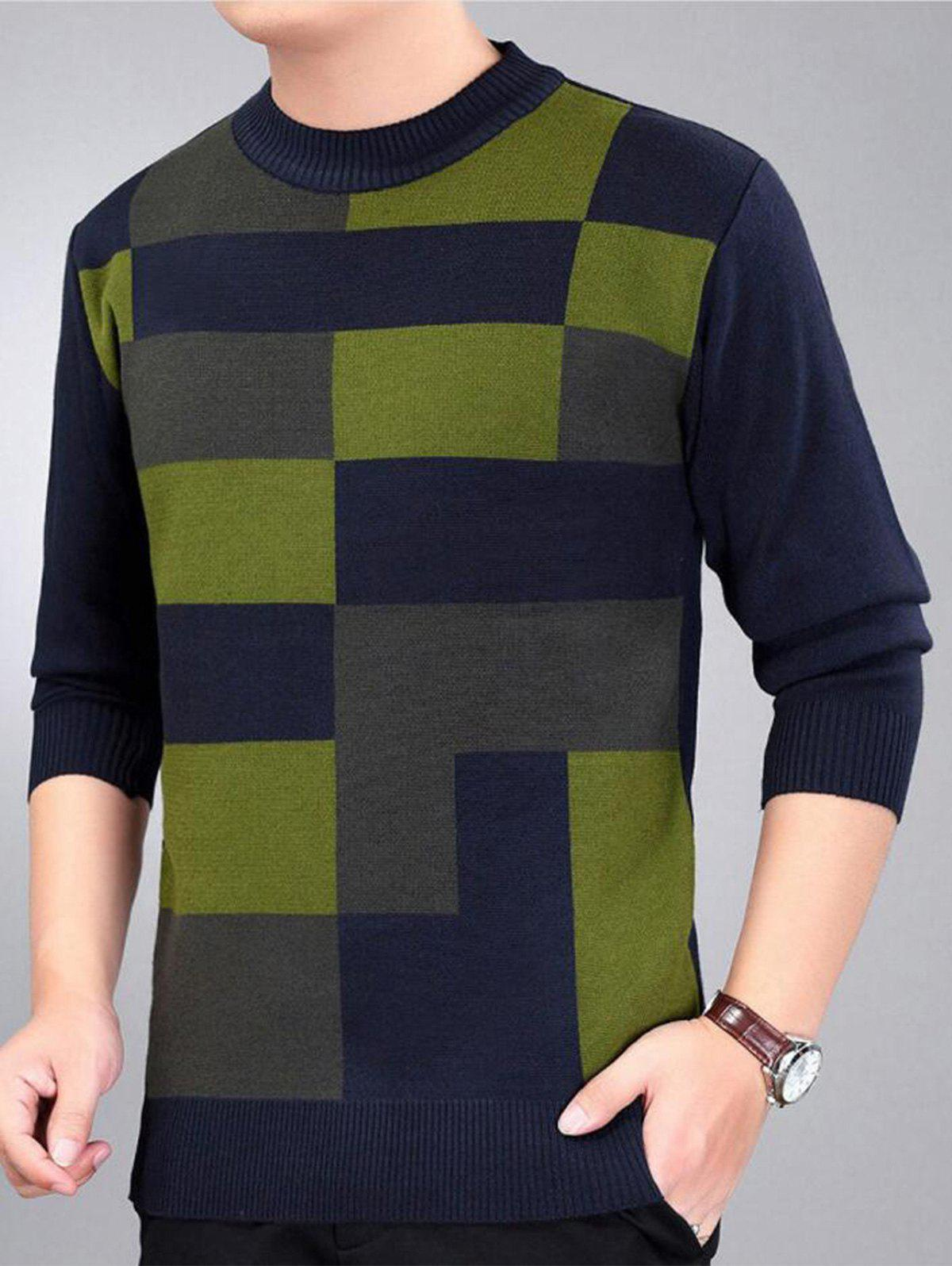 Check Pattern Crew Neck Jumper - Bleu Violet 3XL