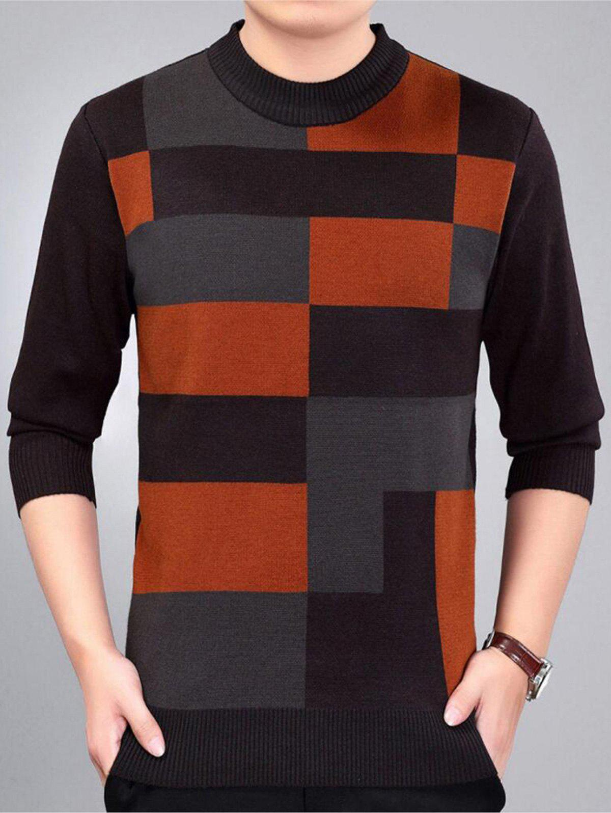 Check Pattern Crew Neck Jumper - Rouge vineux M