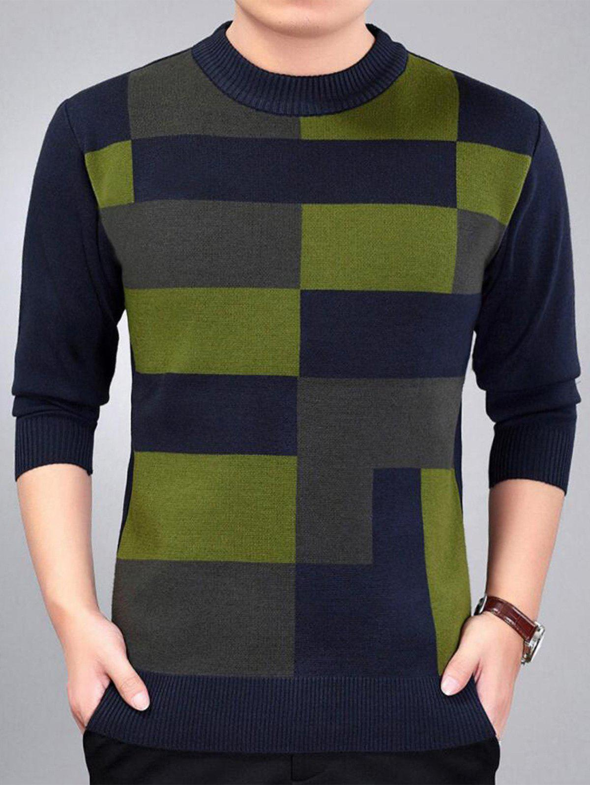 Check Pattern Crew Neck Jumper - Bleu Violet M