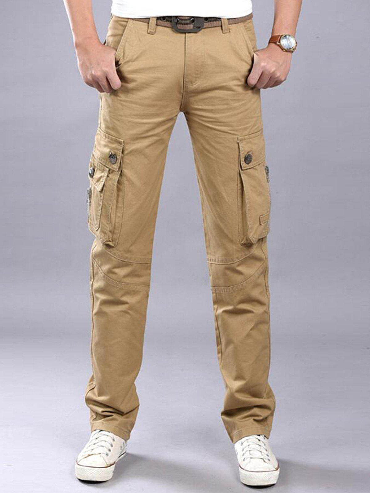 Casual Zip Fly Flap Pockets Cargo Pants - KHAKI 42