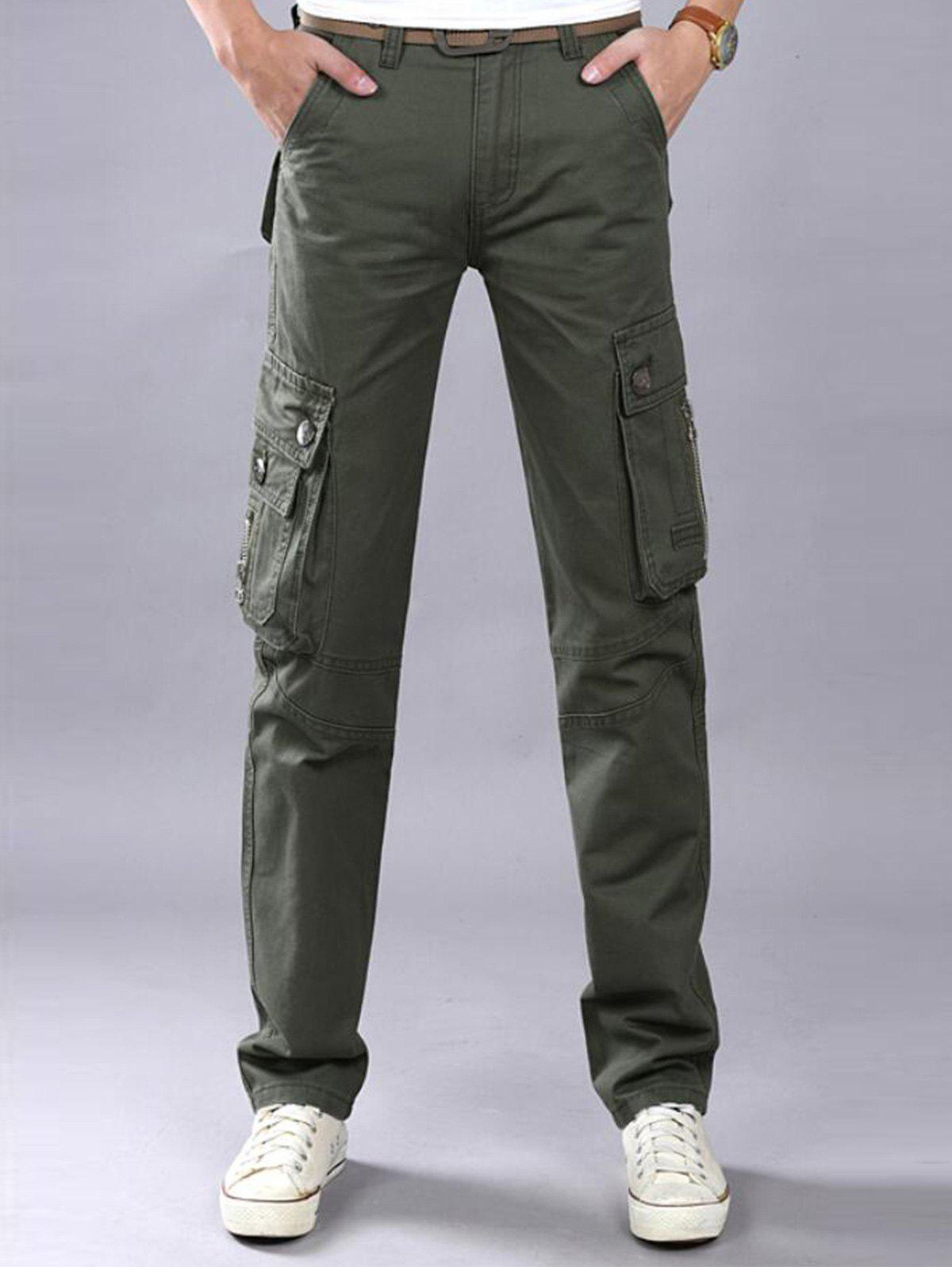 Casual Zip Fly Flap Pockets Cargo Pants - Vert Armée 36