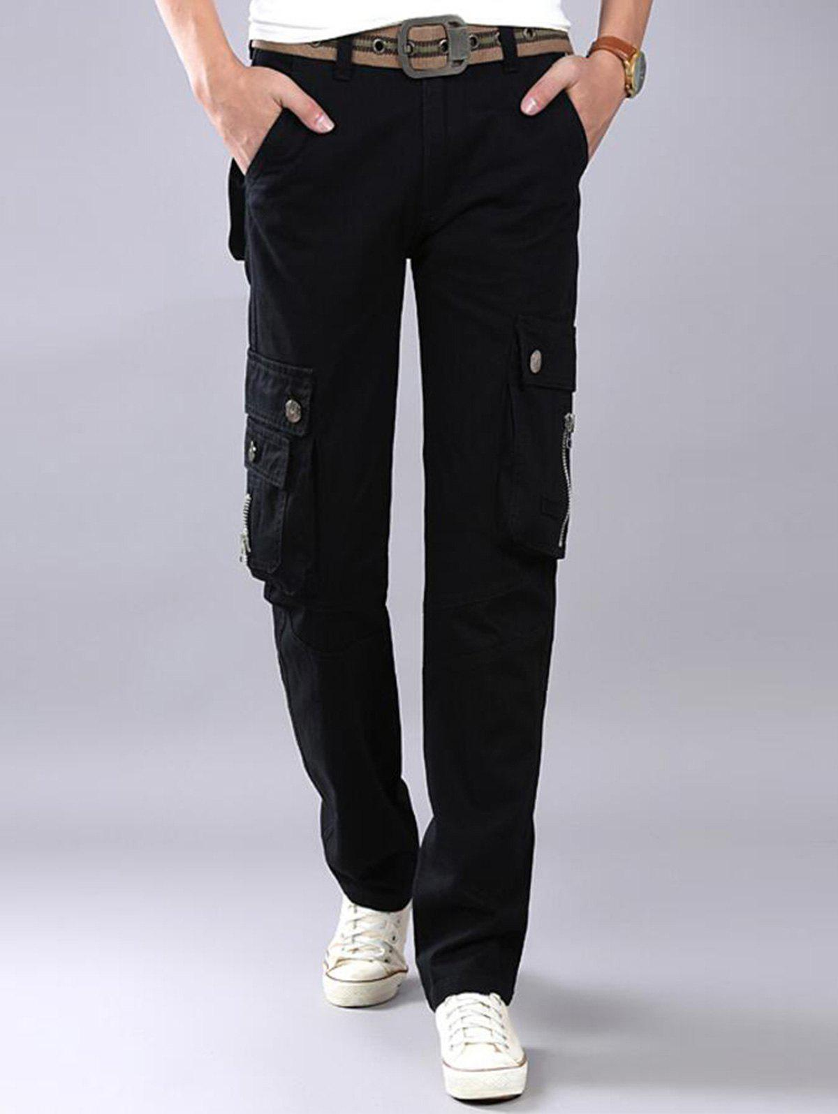 Casual Zip Fly Flap Pockets Cargo Pants - BLACK 42