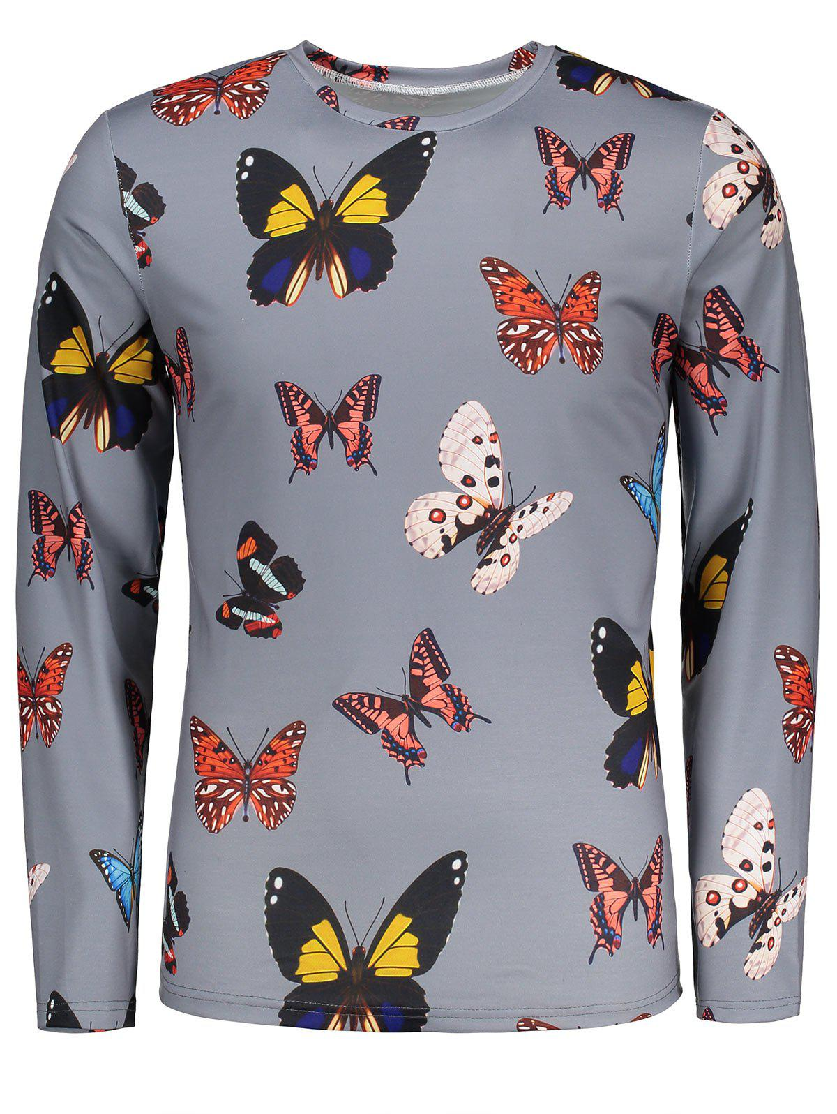 Colorful Butterflies Pattern Crew Neck T-shirt - GRAY 2XL