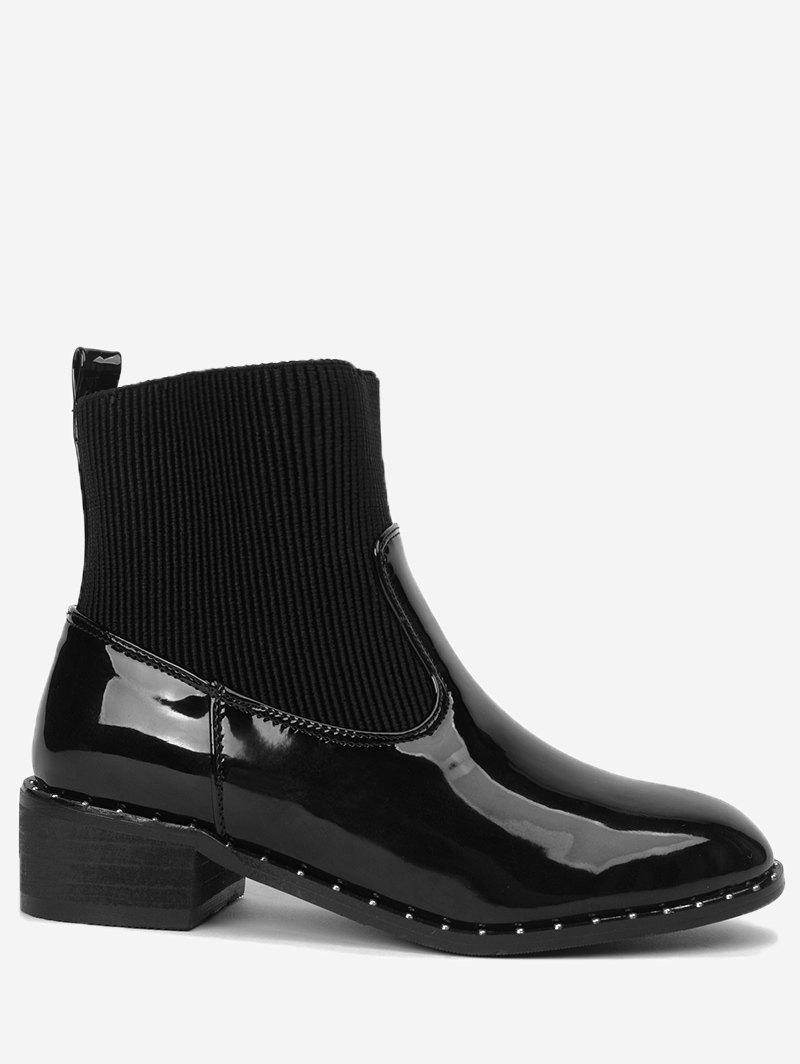Rivets Low Heel Splicing Ankle Boots - BLACK 40