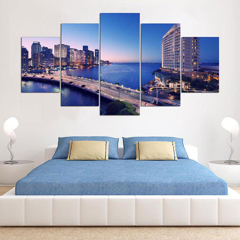 City Imprimé Print Split Canvas Unframed Wall Art - coloré 1PC:8*20,2PCS:8*12,2PCS:8*16 INCH( NO FRAME )