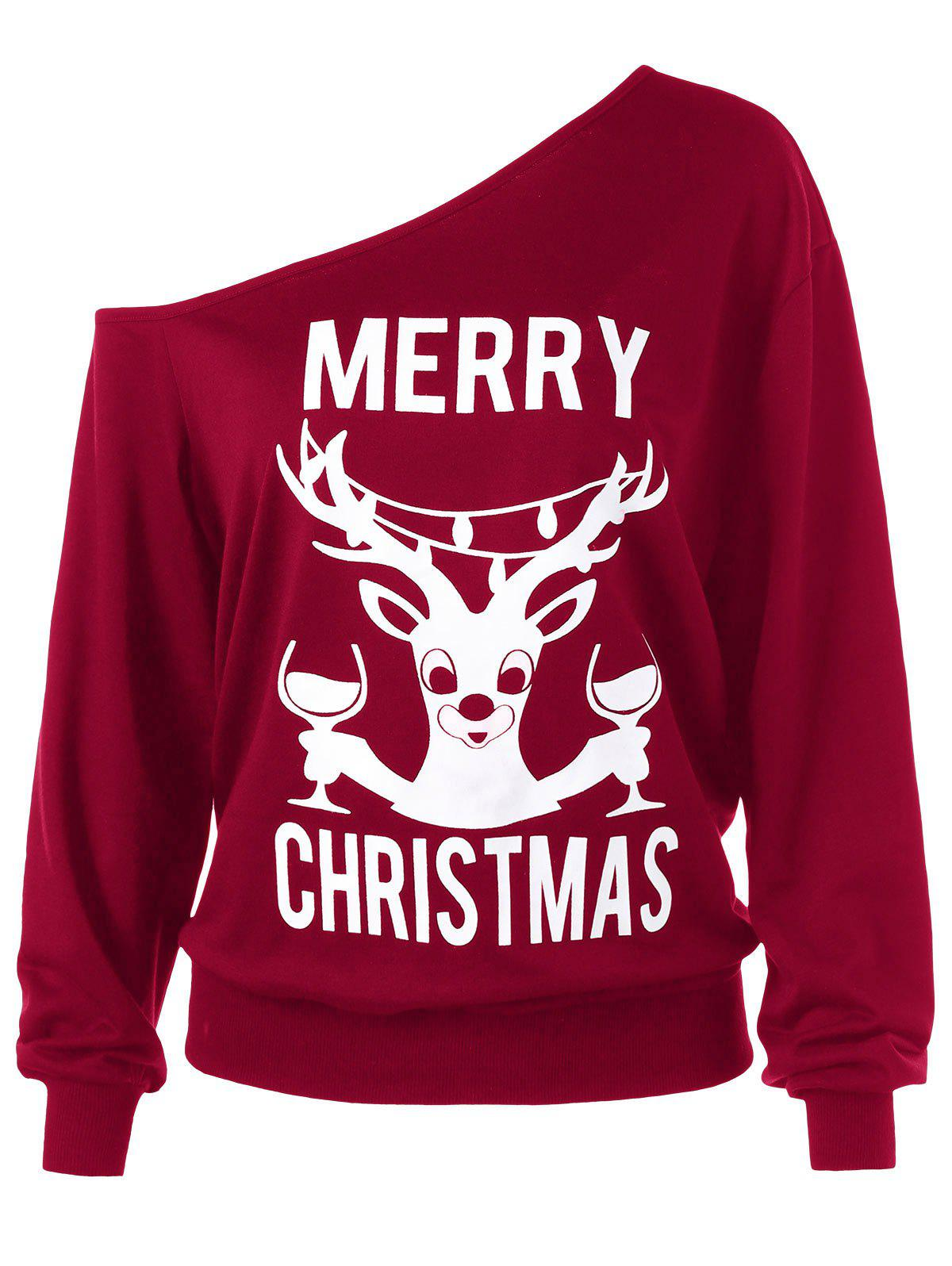 Plus Size Merry Christmas Skew Collar Sweatshirt plus size christmas reindeer skew collar sweatshirt