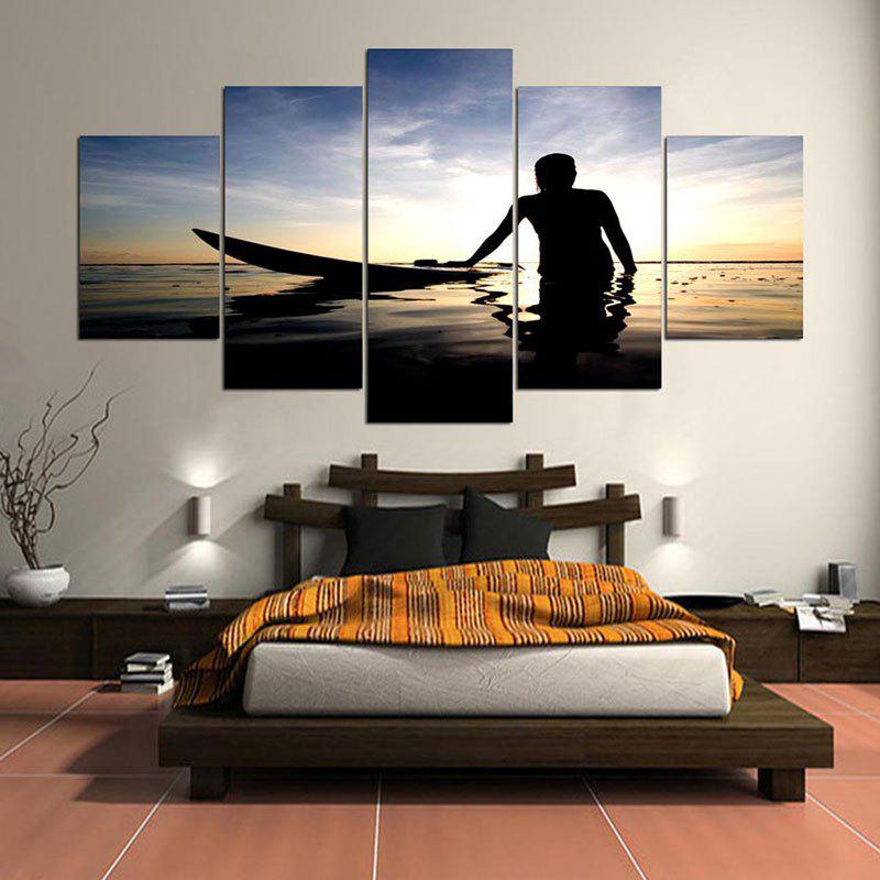Fish Boat Sea Pattern Split Canvas Wall Art Paintings - gris 1PC:8*20,2PCS:8*12,2PCS:8*16 INCH( NO FRAME )