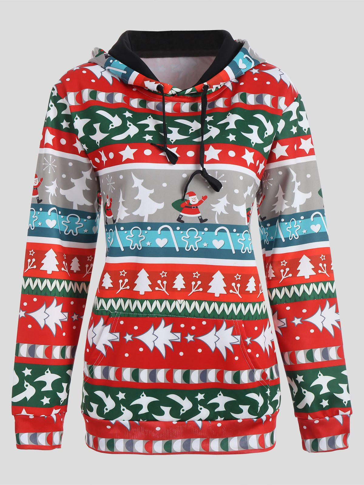 Sweat à Capuche Imprimé Sapin de Noël et Flocon de Neige - multicolore XL
