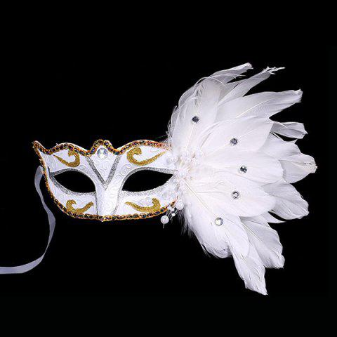 Fake Pearl Embellished Party Feather Masquerade Mask - WHITE