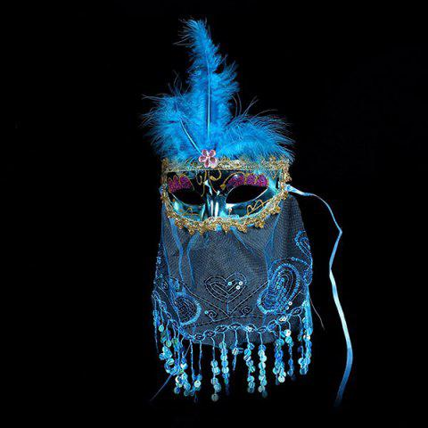 Indian Princess Belly Dance Tulle Feather Party Mask - Bleu