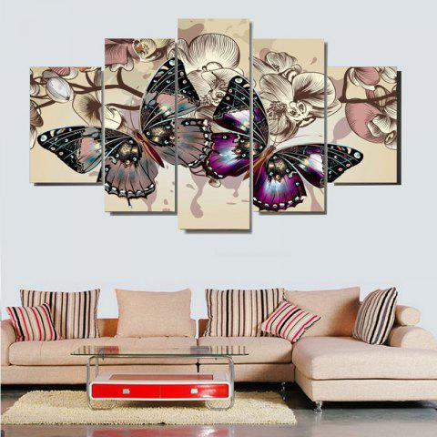 Unframed Colorful Butterflies Pattern Canvas Paintings - COLORFUL 1PC:8*20,2PCS:8*12,2PCS:8*16 INCH( NO FRAME )