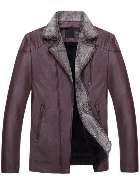 Asymetrical Zip Faux Collar Motocycle Jacket - WINE RED XL
