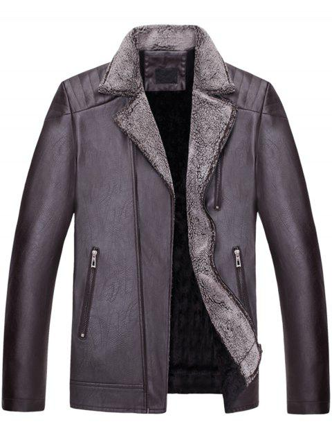 Asymetrical Zip Faux Collar Motocycle Jacket - COFFEE XL