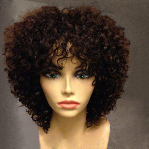 Short Side Fringe Fluffy Afro Curly Synthetic Wig - COFFEE