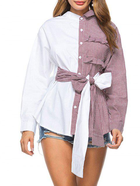 Striped High Low Bowknot Shirt - WINE RED 2XL