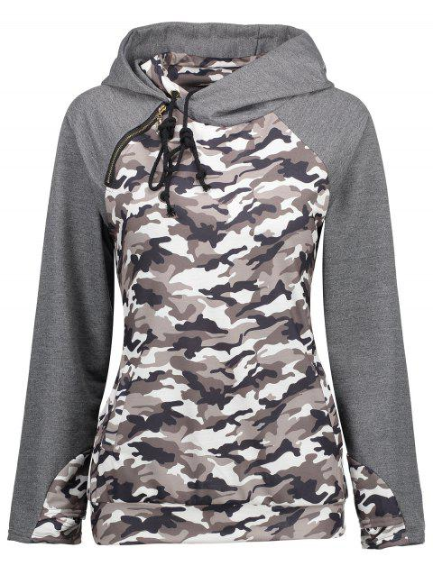 Camouflage Raglan Sleeve Hoodie with Pockets - COLORMIX M