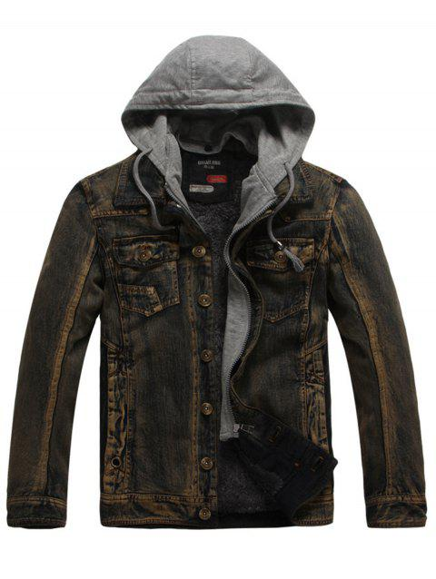 Drawstring Hooded Denim Jean Jacket - COFFEE 3XL