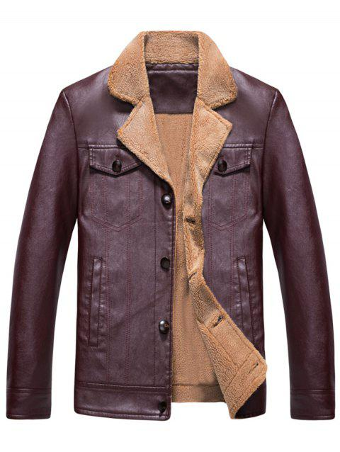 Faux Shearling Lining Notch Collar Motocycle Jacket - WINE RED XL