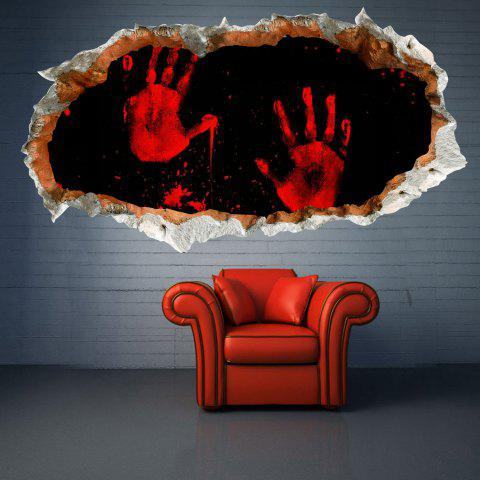 3D Hole Halloween Bloody Hand Waterproof Wall Decal - BLACK
