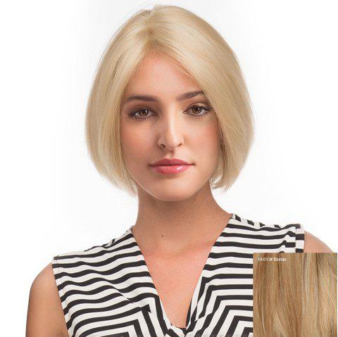 Middle Part Straight Short Bob Human Hair Lace Front Wig - BLONDE