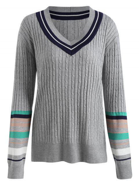 Plus Size Striped Panel Ribbed Tennis Sweater - GRAY 3XL