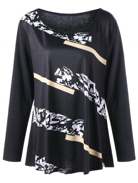 Plus Size Graphic Long Sleeve T-shirt - BLACK 4XL