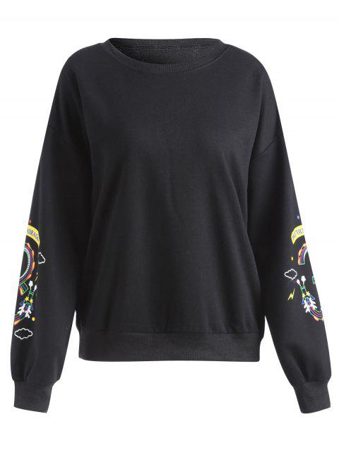 Plus Size Floral Printed Pullover Sweatshirt - BLACK 5XL