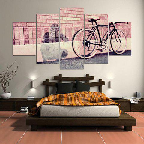 Wall Art Bicycle Bricks Wall Printed Canvas Paintings - PINK 1PC:8*20,2PCS:8*12,2PCS:8*16 INCH( NO FRAME )