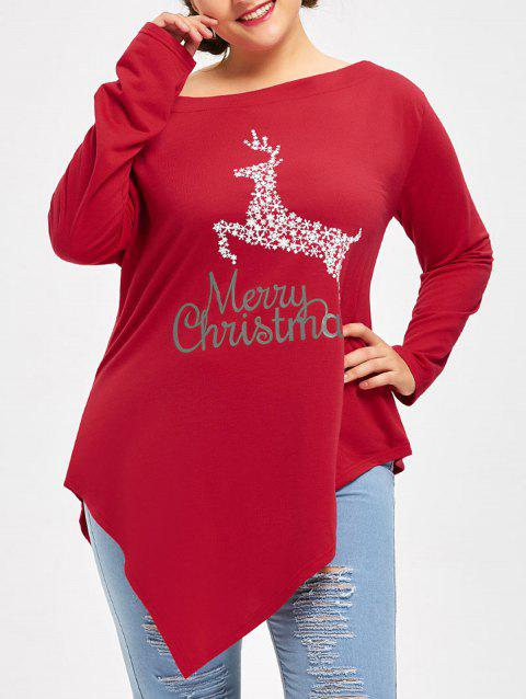 Plus Size Merry Christmas Deer Asymmetric T-shirt - RED 3XL