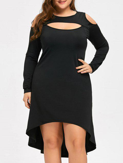72e784ecbc2be Plus Size Cold Shoulder Keyhole Cocktail Dress - BLACK 4XL. Sold Out