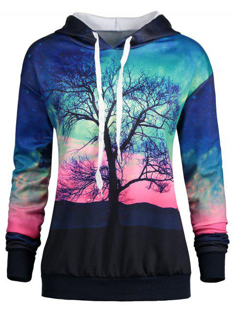 Tree and Galaxy Print Drawstring Hoodie - COLORMIX XL