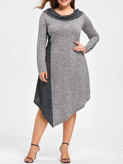 Plus Size Marled Asymmetrical Jersey Dress - BLACK/GREY 2XL