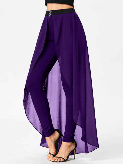 High Waist Slimming Pants with Skirt - PURPLE 2XL