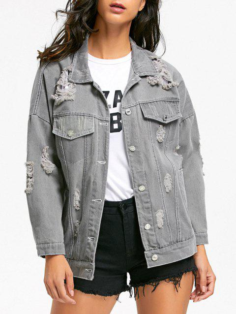 Veste Denim Distressed - Gris 2XL