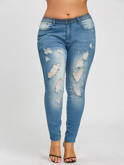 Plus Size Slim Fitted Ripped Jeans - BLUE 2XL