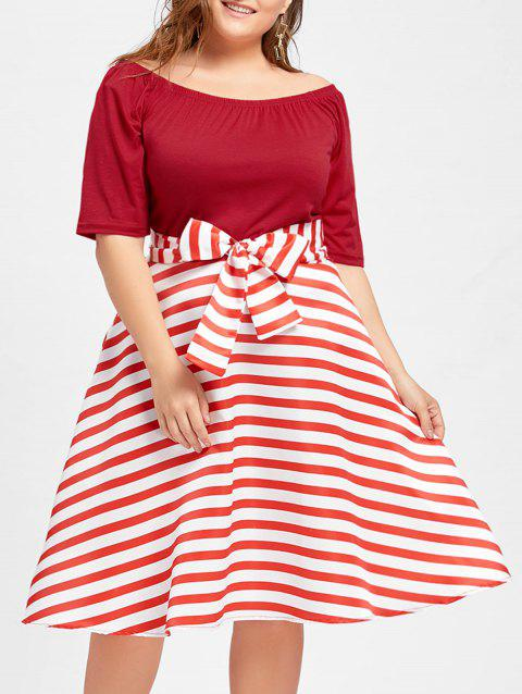 Plus Size Stripe Christmas Party Knee Length Dress - RED 5XL