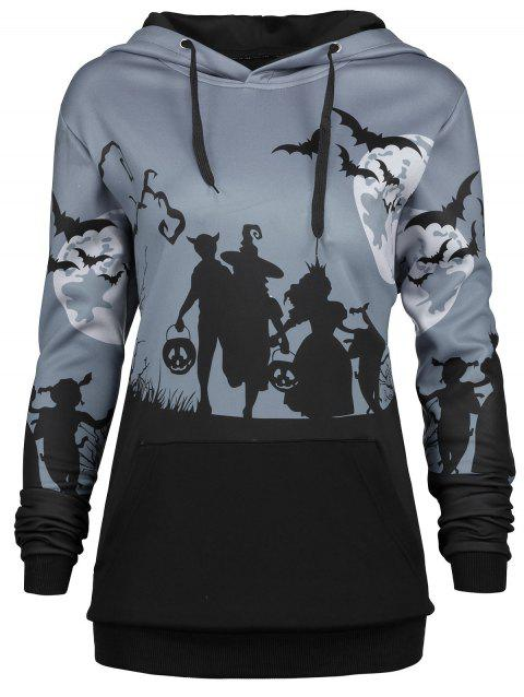 Plus Size Halloween Moon Bat Print Hoodie with Pocket - GRAY 3XL