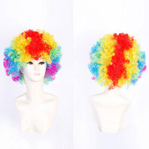 Fluffy Afro Curly Short Clown Fans Carnival Party Wig - COLORFUL