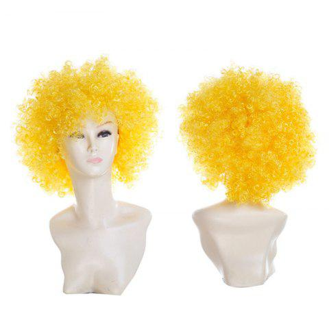 Fluffy Afro Curly Short Clown Fans Carnival Party Wig - YELLOW