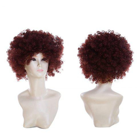 Fluffy Afro Curly Short Clown Fans Carnival Party Wig - COFFEE
