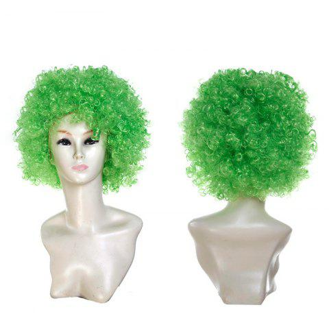 Fluffy Afro Curly Short Clown Fans Carnival Party Wig - GREEN