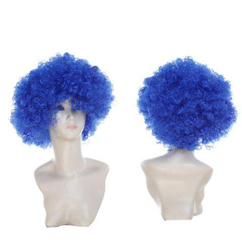 Fluffy Afro Curly Short Clown Fans Carnival Party Wig - ROYAL