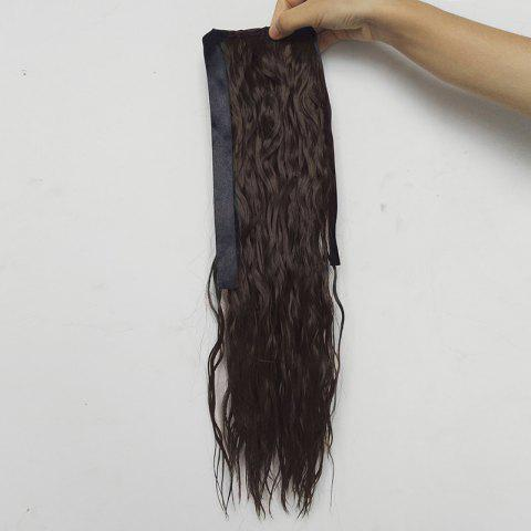 Medium Ponytail Water Wave Synthetic Hair Extension - BROWN