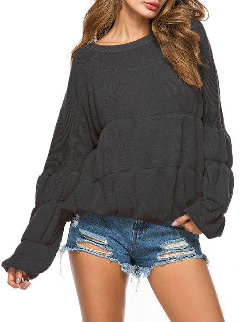 Puff Sleeve Crew Neck Sweater - BLACK ONE SIZE