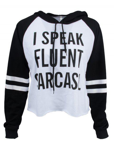 Striped Sleeve Letter Print Hoodie - WHITE/BLACK XL