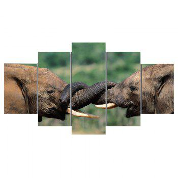 Elephants Printed Unframed Canvas Paintings - COLORMIX 1PC:8*20,2PCS:8*12,2PCS:8*16 INCH( NO FRAME )