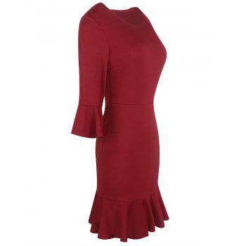 Flare Sleeve Formal Mermaid Dress - DARK RED DARK RED