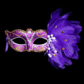 Fake Pearl Embellished Party Feather Masquerade Mask - PURPLE PURPLE